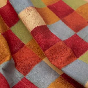 Multi-Coloured Square Checks Lightweight Furnishing Fabric