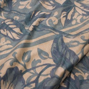 Blue Paisley Patterned Cotton Lightweight Furnishing Fabric