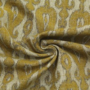 Yellow Patterened Woven Chenille Clearance Upholstery Furnishing Fabric