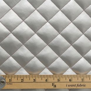 Diamond Quilted Padded Faux Leather Fabric - Silver