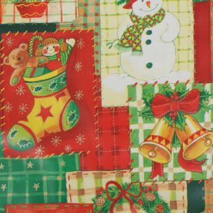 Xmas PVC Wipeclean Oilcloth - Xmas Patchwork