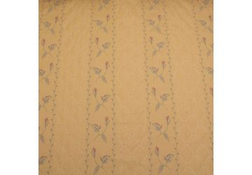 Arianna Stripe Jacquard Woven Floral Leaf And Diamond Pattern Curtain Fabric In Stunning Yellow